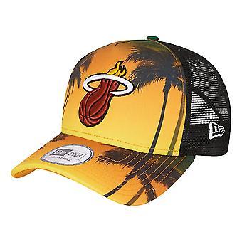 New Era Miami Heat Summer City Trucker Cap - Black