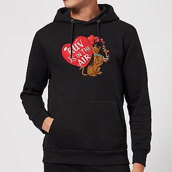 Scooby Doo Ruv Is In The Air Logo Merchandise Hoodie Hoody Hooded Top - Black