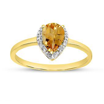 LXR 14k الذهب الأصفر الكمثرى سيترين وخاتم الماس 0.52 CT