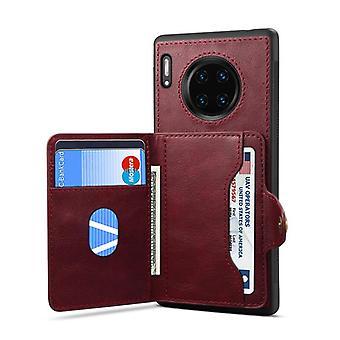 Portemonnee lederen hoesje kaartsleuf voor samsung note10plus rood no1561