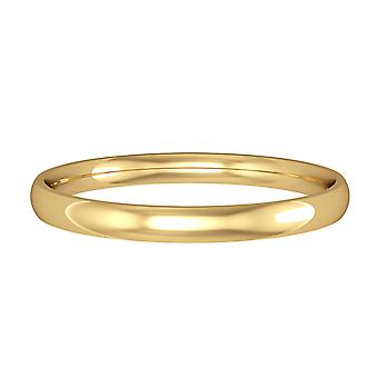 Jewelco London 18ct Yellow Gold - 2mm Essential Court-Shaped Band Commitment / Anello di nozze