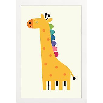 JUNIQE Print - Giraf klaver - Giraf plakat i gult