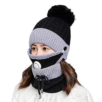 قناع وشاح الشتاء الأسود تعيين مع صمام التنفس سميكة قبعة محبوك cai1151