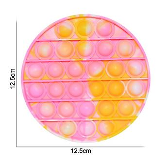Stuff Certified® Pop It - Washed Fidget Anti Stress Toy Bubble Toy Silicone Round Yellow-Pink