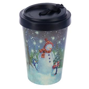 Jan Pashley Christmas Snowman Reusable Screw Top Bamboo Composite Travel Mug