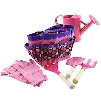Pink gardening tools for kids include watering can gloves shovel rake fork dt6786