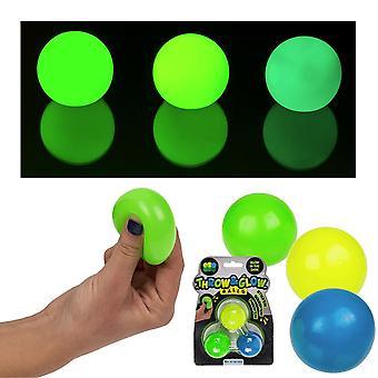 3-Pack Stress Relax Squeeze Ball glänzt im dunklen Fidget Spielzeug Klemme Ball