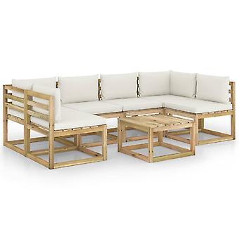 vidaXL 7-tlg. Garten-Lounge-Set mit Kissen Imprägniertes Kiefernholz