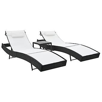vidaXL Chaises longues 2 pcs avec table poly rotin et noir textile