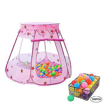 Tenda da gioco per bambini con 130 pezzi Ocean Ball, tenda da gioco pieghevole Hexagon Castle per bambini al coperto e