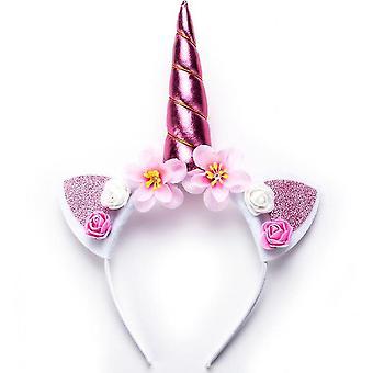 Dream Unicorn Flower Hair Hoop Children's Birthday Gift(Pink)