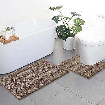 Taupe bathroom rugs, contour rug sets, extra thick bath mats, anti-slip soft plush chenille shaggy bath mats (50 x 80cm plus 50 x 50cm u)