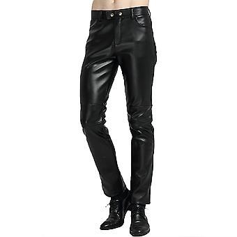 YANGFAN Herre Sort imiteret læder bukser part solid farve bukser