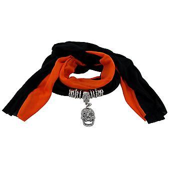黑色和橙色骷髅吊坠围巾首饰