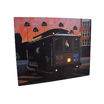 Cable Car At Sunset LED Lighted Canvas Wall Hanging