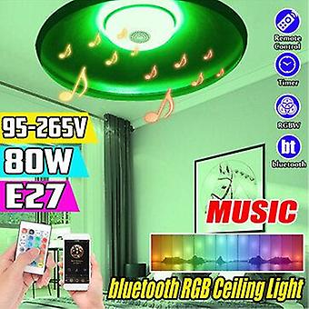 80W e27 smart bluetooth music speaker rgbw led bulb ufo ceiling lamp ktv home decoration+remote control 95-265v