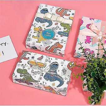 Wrapping paper christmas gift package  christmas gift packaging paper  10 pieces 50 * 70 cm dinosaur * 5 siren * 5