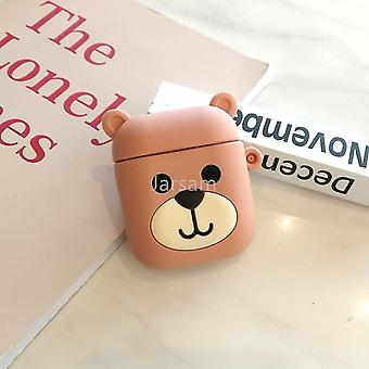 Musical instrument amplifier covers cases cute cartoon 3d silicone earphone case covers for airpods 1 2 brownbear