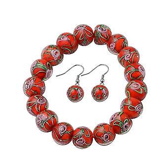 TJC Beaded, Drop Dangle Smykker Sæt til Kvinder 7,5 '' Red Murano Glass 0,002ct
