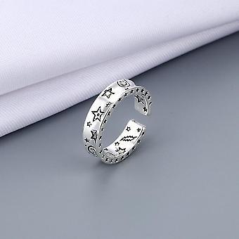Größenable Vintage Ancient Silber Schmuck Stimmung heben Finger Ringe (H)