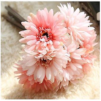 Margarita artificial flor novia y dama de honor ramo 7 tallos de seda margarita flor de bricolaje decorativo rosa