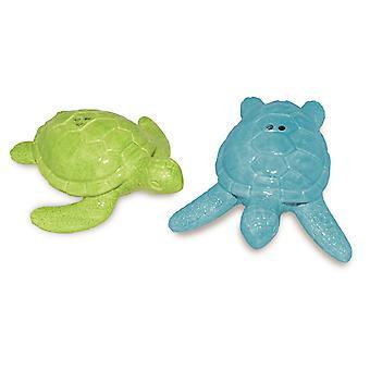 Groene en blauwe zee schildpadden zout en peper schudbeker instellen keramiek