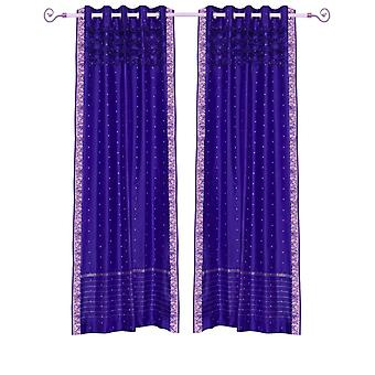 Purple Hand Crafted ojal superior Sari pura cortina Panel - pieza