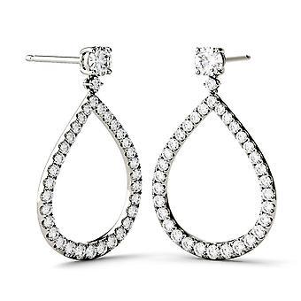 14K White Gold Forever Brilliant 4.0mm Round Moissanite Drop Earrings, 1.72cttw DEW