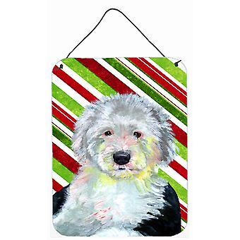 Old English Sheepdog canna di caramella vacanza Natale parete o porta appeso stampe
