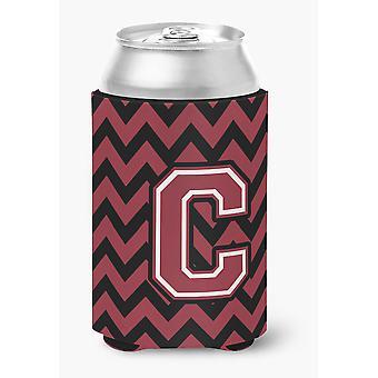 Letter C Chevron Garnet and Black  Can or Bottle Hugger