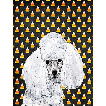 White Toy Poodle Candy Corn Halloween Flag Canvas House Size