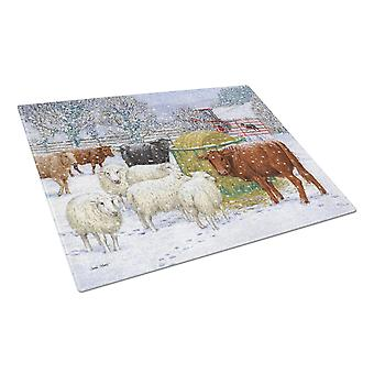 Cows and Sheep in the Snow Glass Cutting Board Large