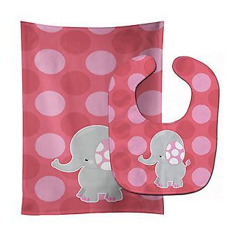 Каролинских сокровища BB6950STBU слон большой Polkadots ребенок нагрудник & Берп Ткань