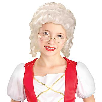 Colonial Lady Belle Victorian 18th Century Olden Day White Girls Costume Wig