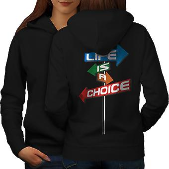 Vita scelta percorso Slogan donne BlackHoodie Back | Wellcoda