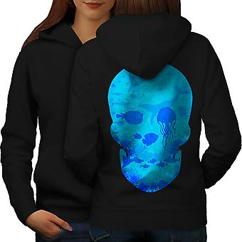 Sea Ocean Water Skull Women BlackHoodie Back | Wellcoda