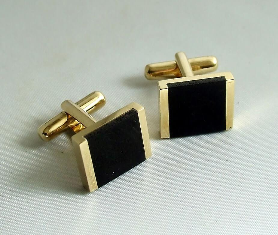 Christian gold cuff links with onyx