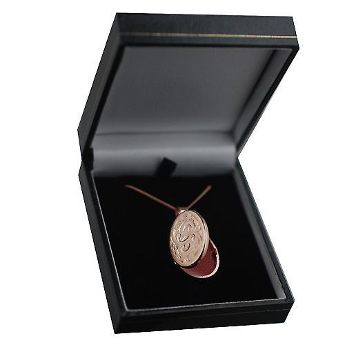 9ct Rose Gold 26x19mm hand gravierte flachoval Medaillon mit einem Bordstein Kette 20 Zoll