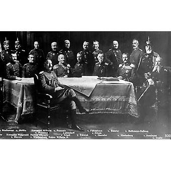 WWI Kaiser Wilhelm II with Generals Poster Print by Science Source