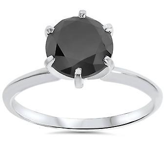 2 1 / 2ct schwarzer Diamant Solitär-Ring 14K Weissgold