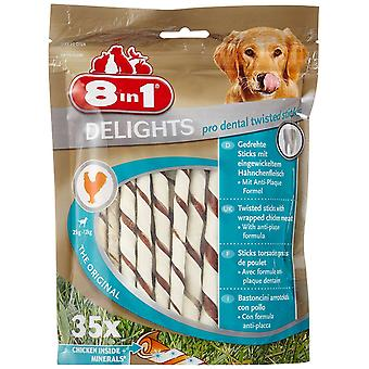 8in1 Delights Dog Treats Twist Dental Sticks, 35-Piece