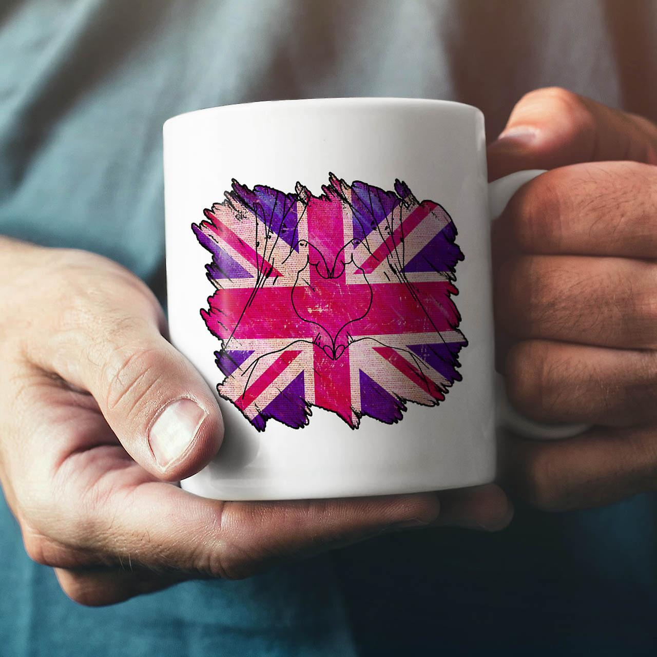 United Kingdom Heart NEW White Tea Coffee Ceramic Mug 11 oz | Wellcoda