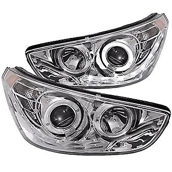 AnzoUSA 121475 Chrome/Clear/Amber Halogen Projector Headlight for Hyundai Accent