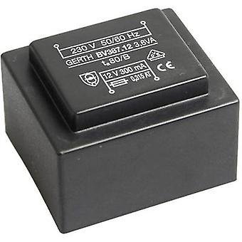 Gerth PTG381202 PCB mount transformer 1 x 230 V 2 x 6 V AC 3.60 VA 300 mA