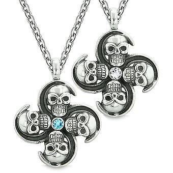 Overnaturlige kraniet Amulet beføjelser kærlighed par bedste venner blå hvide krystaller vedhæng halskæde