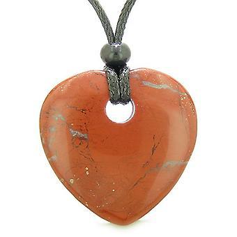 Amulett großes Glück Herz Donut geformte Charme roter Jaspis Edelstein Anhänger spirituelle Heilung Halskette