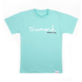 Diamond fuente Co OG Script base camiseta diamante azul