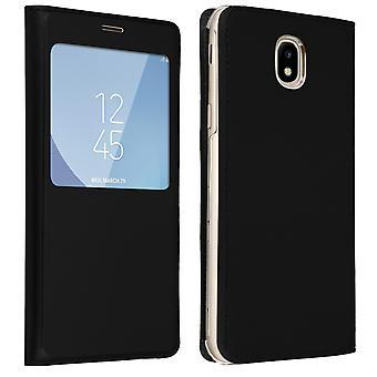 Smart view vindue flip case for Samsung Galaxy J3 2017, slank cover - sort