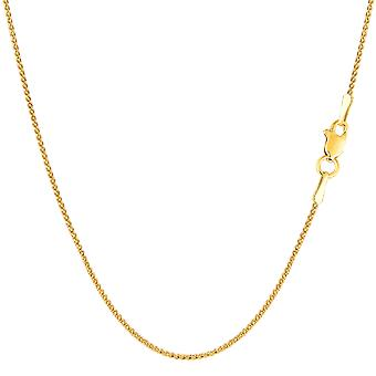 14k Yellow Gold Round Diamond Cut Wheat Chain Necklace, 1.0mm