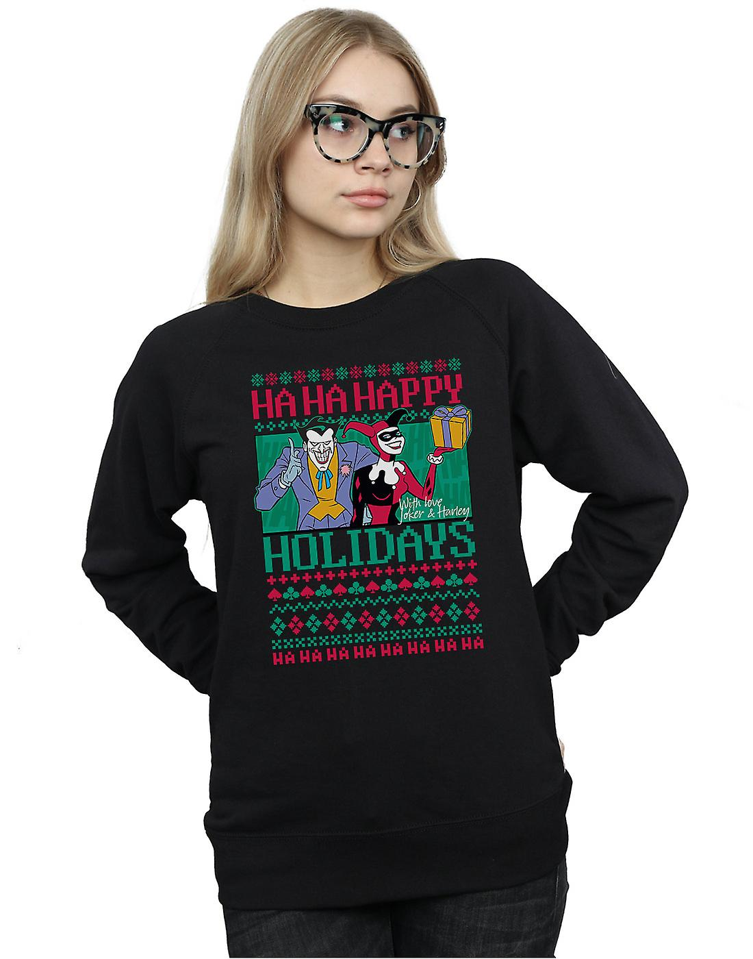 DC Comics Women's Joker And Harley Quinn Ha Ha Happy Holidays Sweatshirt